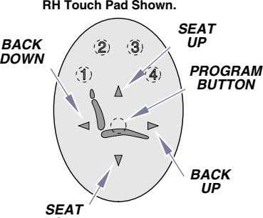 RH Touch Pad Shown. SEAT BACK UP DOWN PROGRAM BUTTON BACK UP SEAT