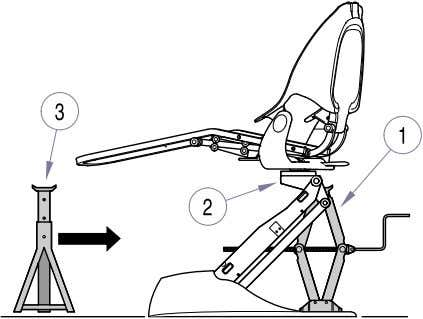 chair. Do not place hands or arms beneath lift arm casting. Figure 4-8. Hydraulic Base Cylinder