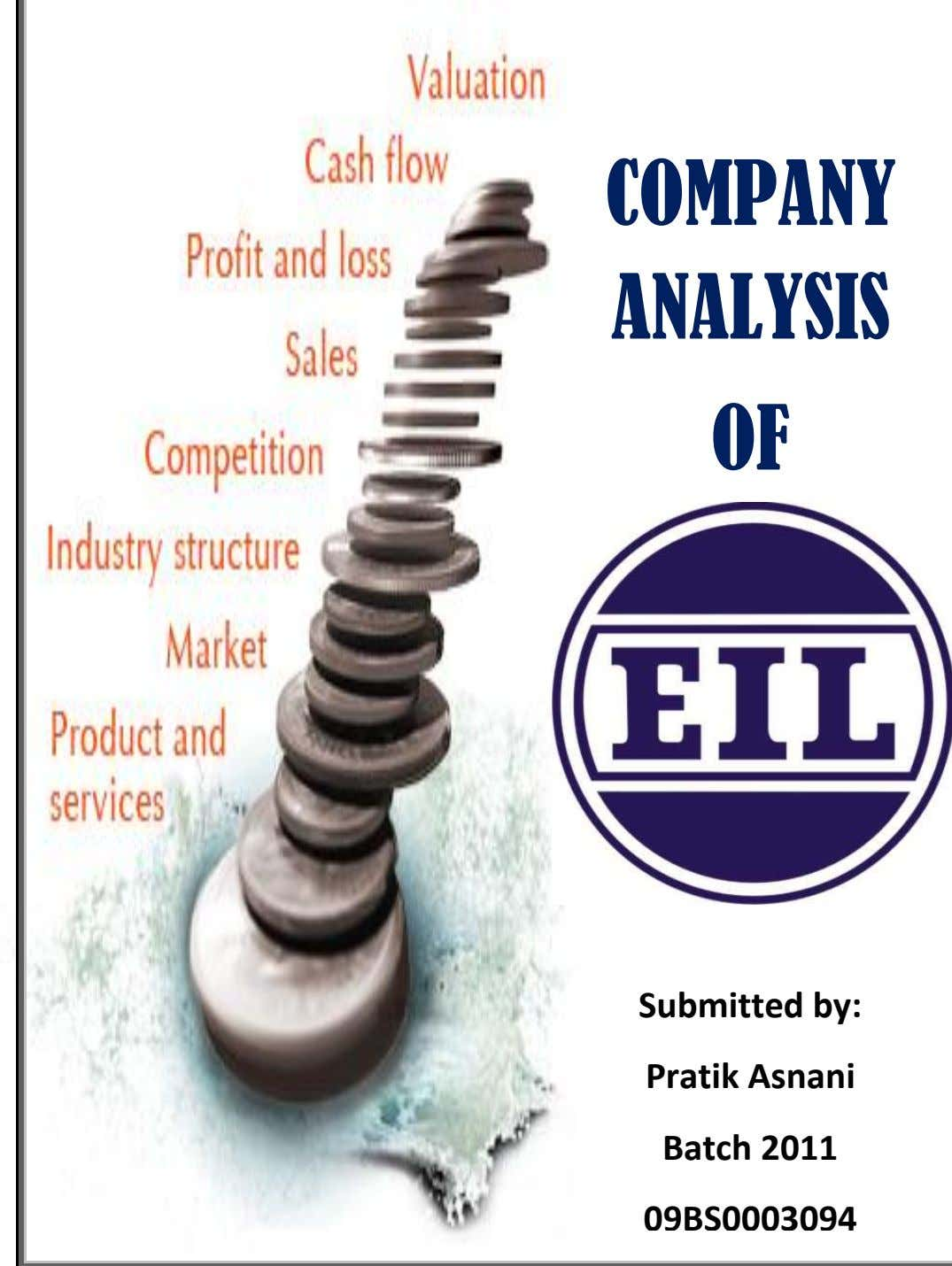 COMPANY ANALYSIS OF Submitted by: Pratik Asnani Batch 2011 09BS0003094