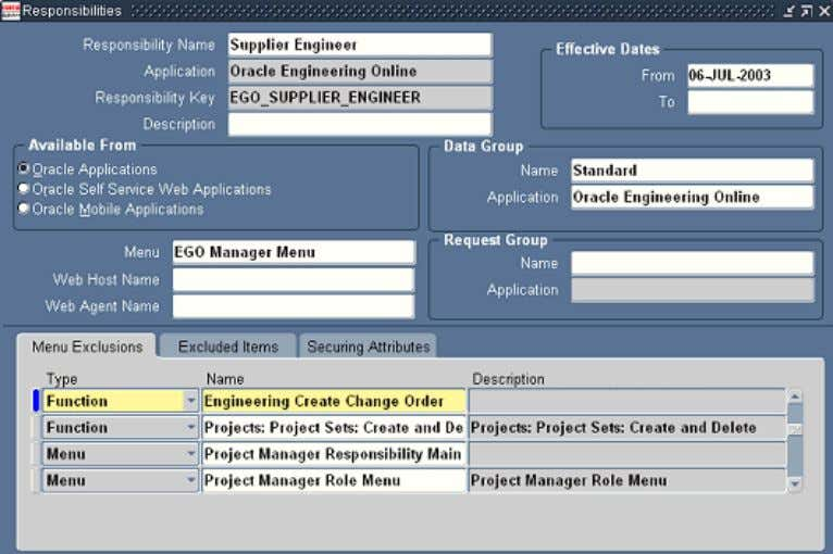 Defining responsibilities with menu exclusions Creating Internal Users You can define E-Business Suite users and assign