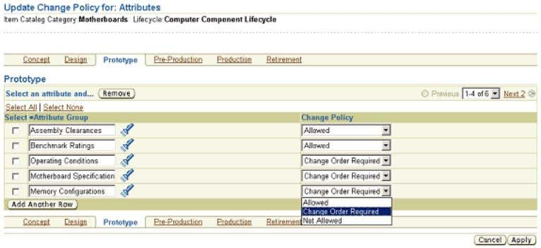Setting lifecycle change policy Additional Information: Before establishing a change policy for attributes or