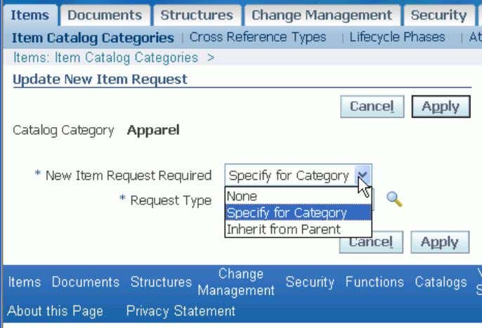 Associating a New Item Request with an Item Catalog Category 3 . In the New Item
