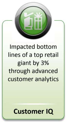 Impacted bottom lines of a top retail giant by 3% through advanced customer analytics Customer