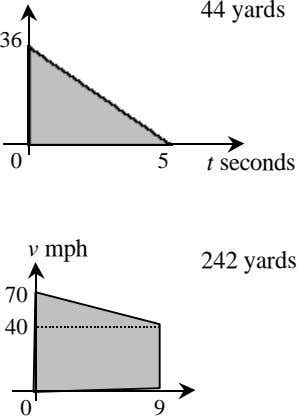 44 yards 36 0 5 t seconds v mph 242 yards 70 40 0 9