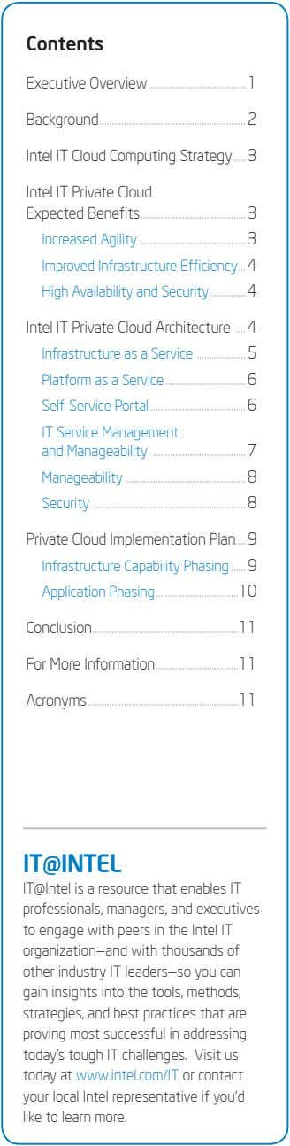 Contents Executive Overview 1 Background 2 Intel IT Cloud Computing Strategy 3 Intel IT Private