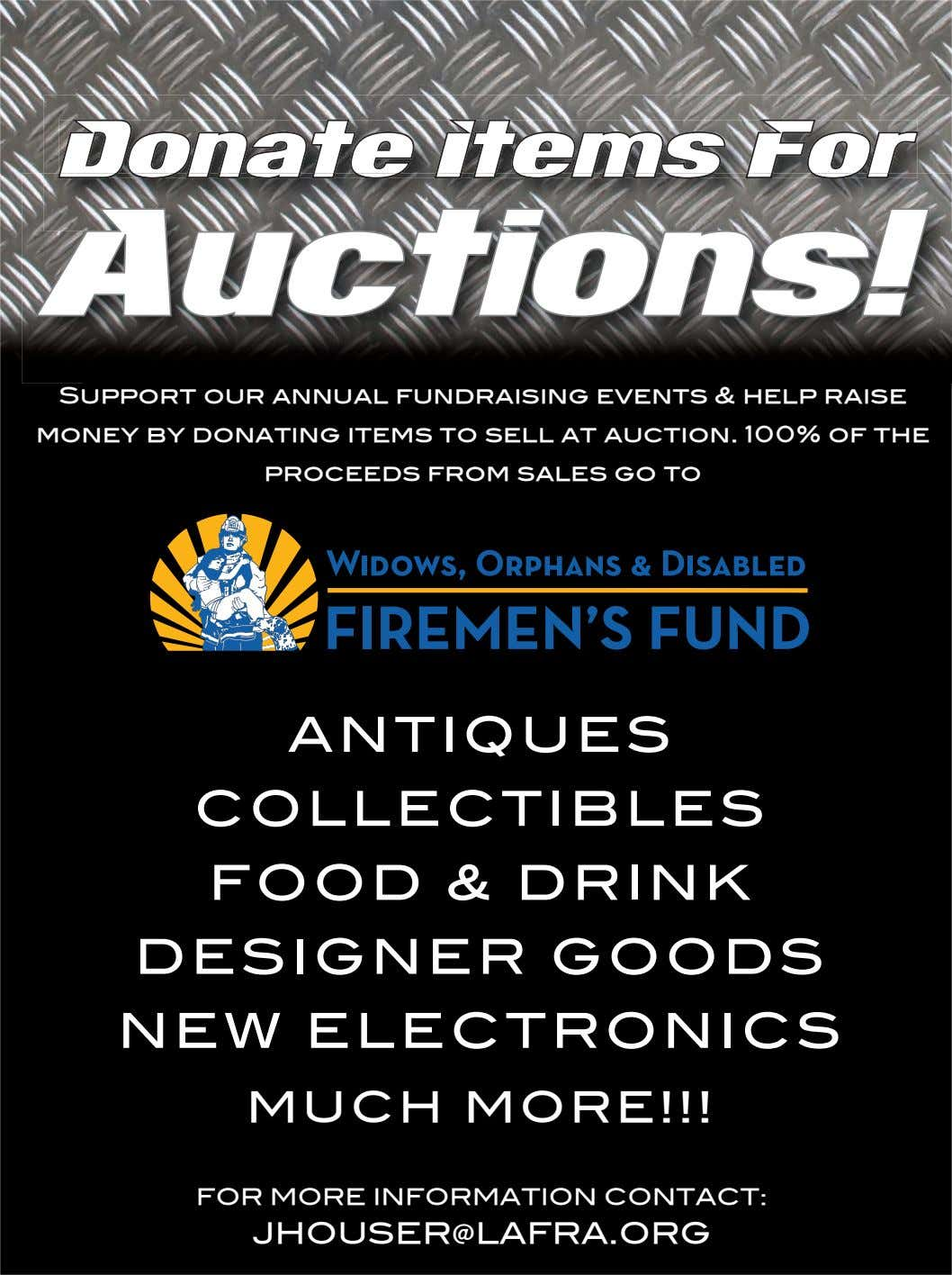 Donate Items For Auctions! Support our annual fundraising events & help raise money by donating