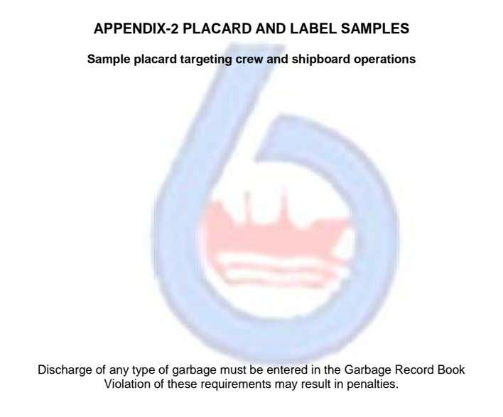 APPENDIX-2 PLACARD AND LABEL SAMPLES Sample placard targeting crew and shipboard operations Discharge of any type