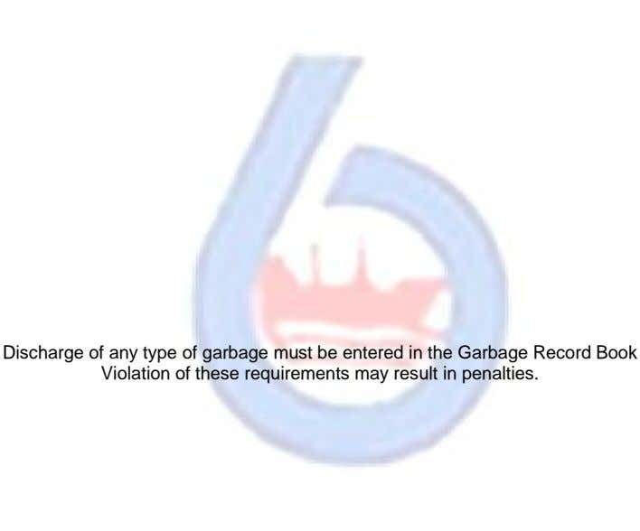 Discharge of any type of garbage must be entered in the Garbage Record Book Violation of