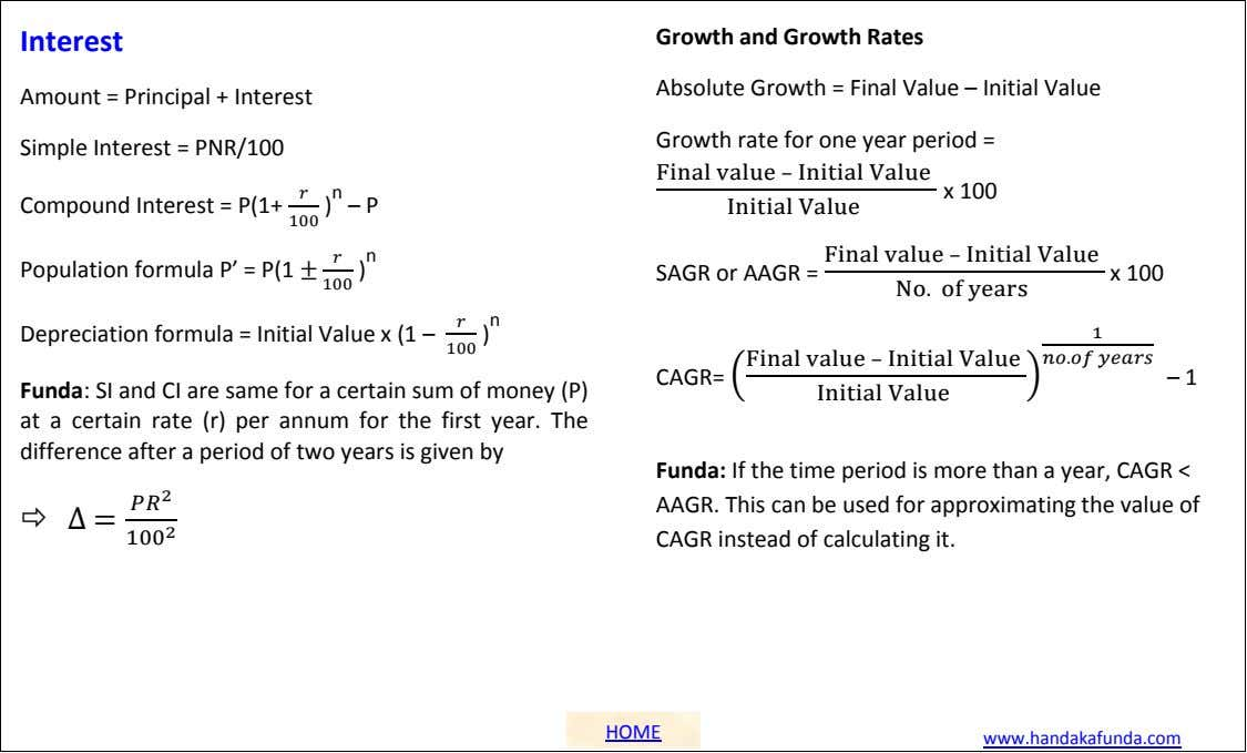 Interest Growth and Growth Rates Absolute Growth = Final Value – Initial Value Amount =