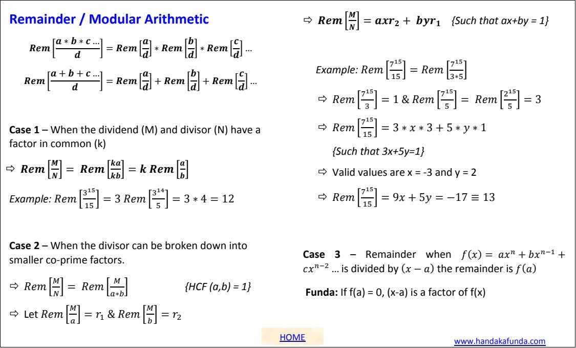 Remainder / Modular Arithmetic  {Such that ax+by = 1} Example:  Case 1 –