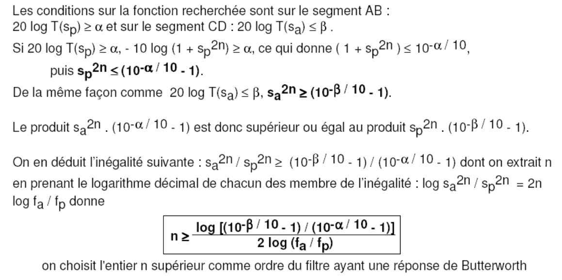 LA SYNTHESE DES FILTRES 3. LES FONCTIONS D'APPROXIMATION: La fonction de Butterworth