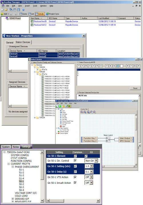 within the devices via an easy to use graphical interface. Fig 3. Typical Reydisp Manager screenshots