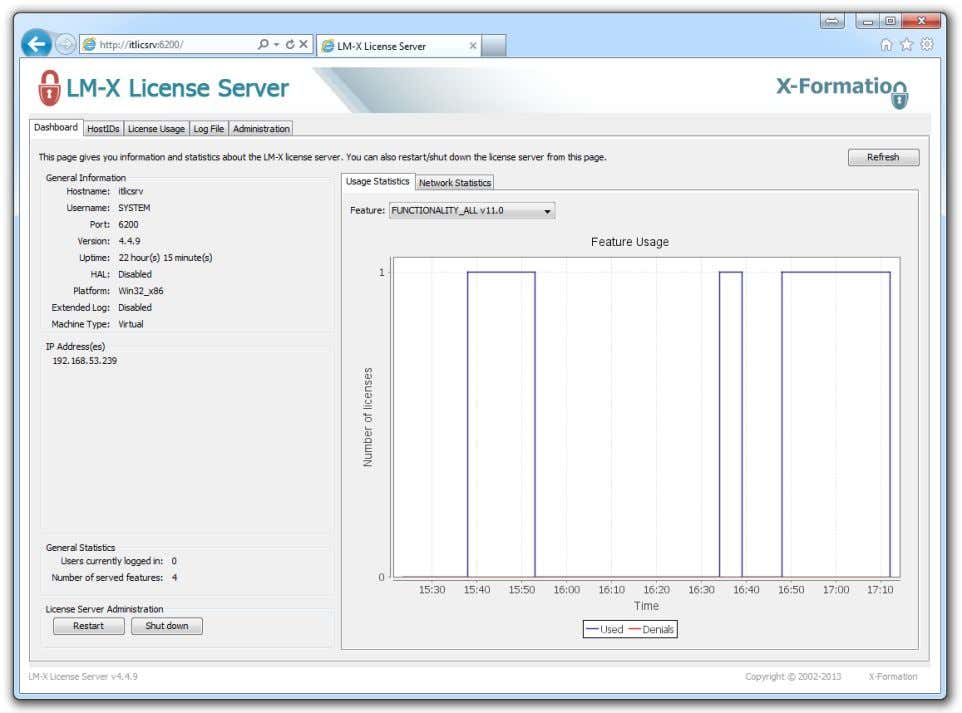 also change configuration settings or restart the server. Figure 6: License Manager Web Application © KISTERS