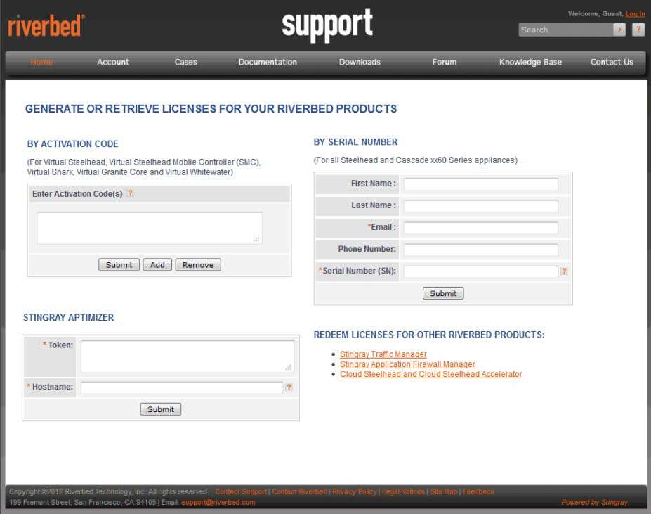 index.htm Figure 2-1. Riverbed Licensing Portal 3. To retrieve your licenses by serial number, type your