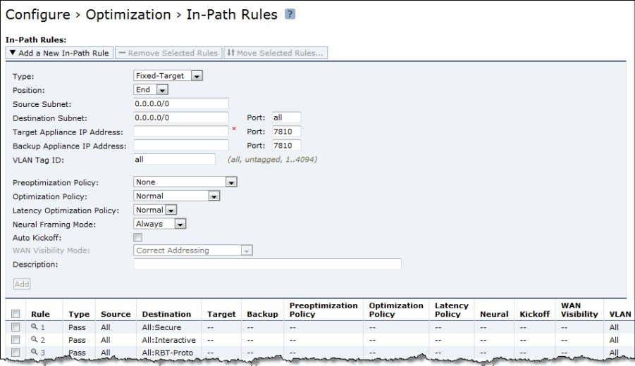 > In-Path Rules page. Figure 3-13. In-Path Rules Page 4. Under In-Path Rules, click Add a