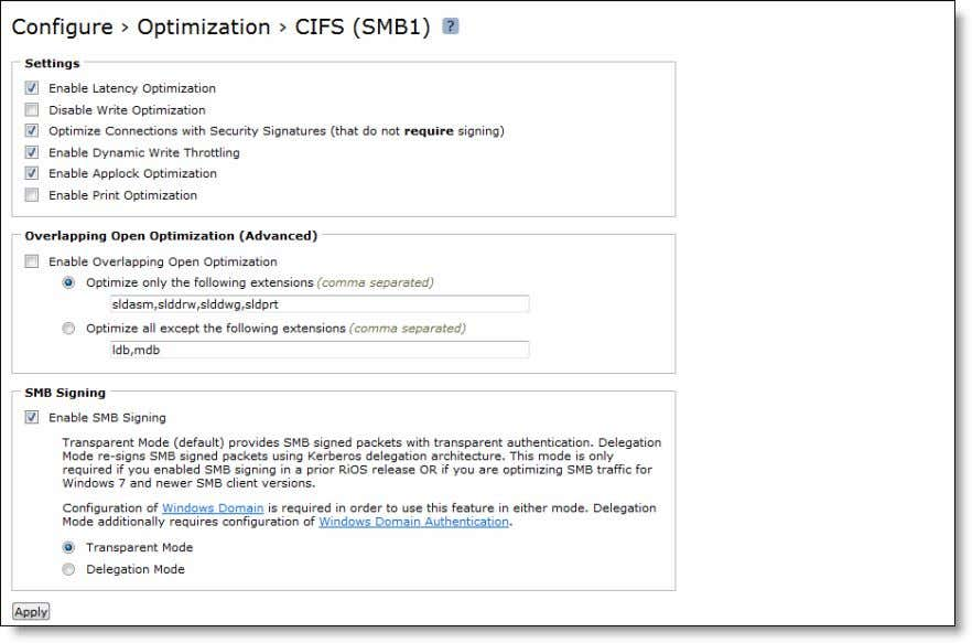 display the CIFS (SMB1) page. Figure 4-1. CIFS (SMB1) Page 3. Under Overlapping Open Optimization (Advanced),