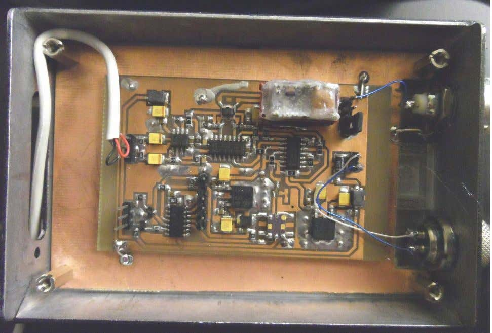 Internal view of one of the receivers. The band filter can be seen top right