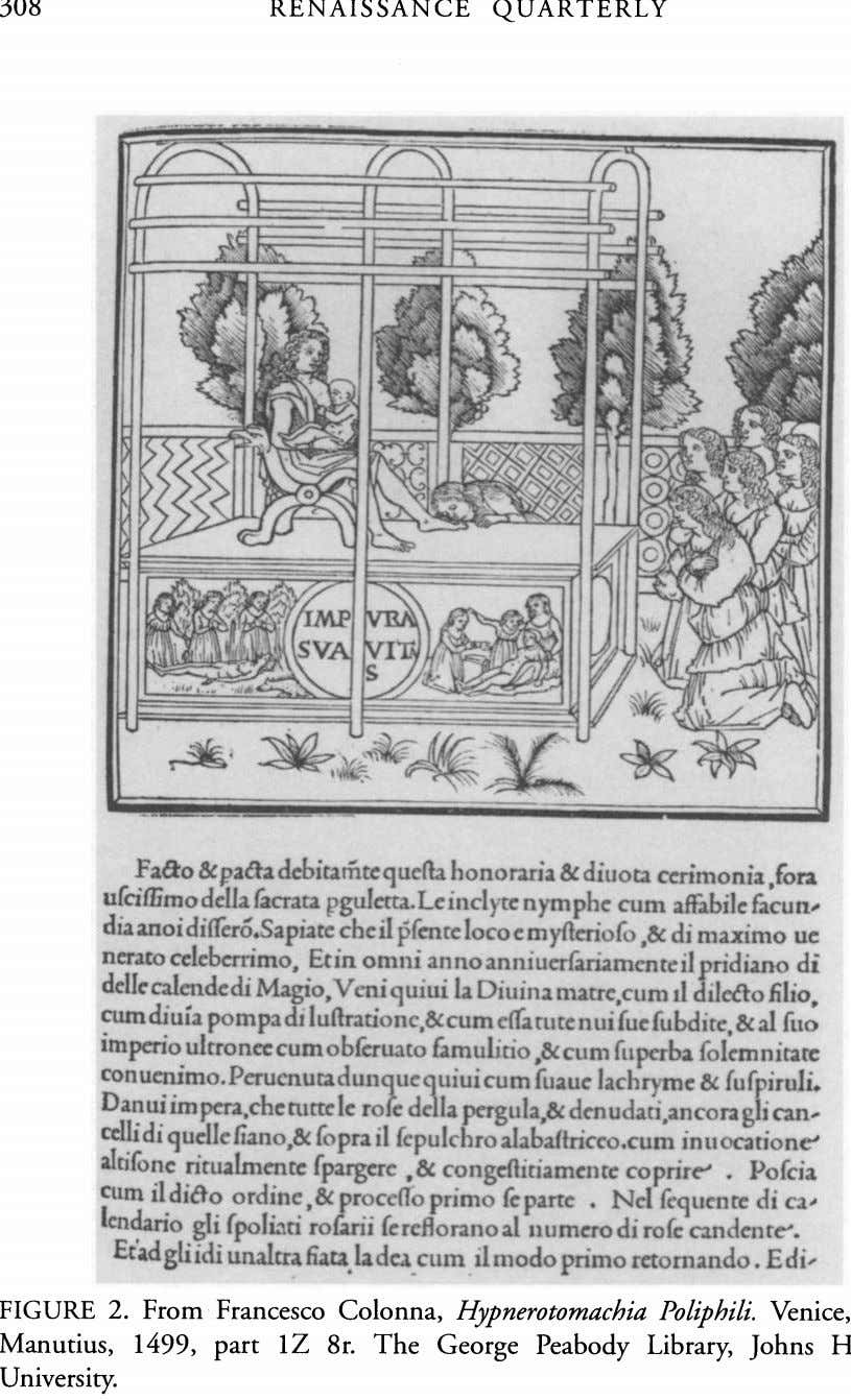 308 RENAISSANCE QUARTERLY M XX vv . . 777 VO FIGURE Manutius, 1499, 8r. The