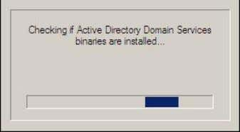 canceled the operation after the binaries were installed. 3. The Active Directory Domain Services Installation