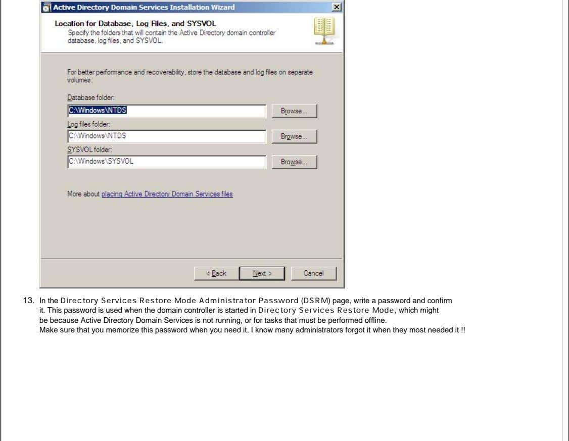 13. In the Directory Services Restore Mode Administrator Password (DSRM) page, write a password and