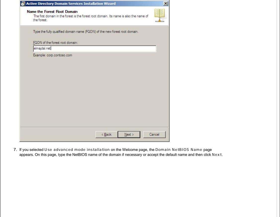 7. If you selected Use advanced mode installation on the Welcome page, the Domain NetBIOS