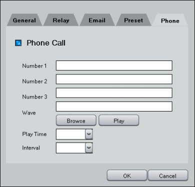 selected camera to focus into the selected preset position. • Phone Call: When event occurs makes