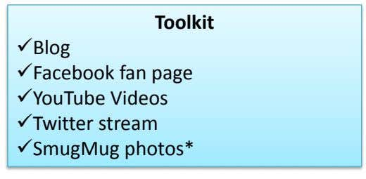 Toolkit Blog Facebook fan page YouTube Videos Twitter stream SmugMug photos*