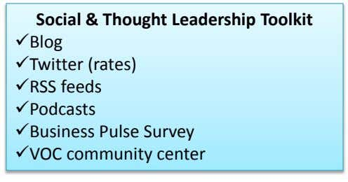 Social & Thought Leadership Toolkit Blog Twitter (rates) RSS feeds Podcasts Business Pulse Survey