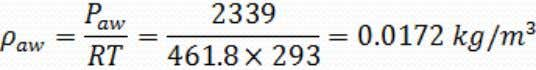 Using dimensionless numbers air L = 1 m W = 0.25 m a: water vapor b: