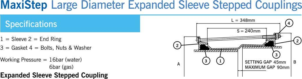 MaxiStep Large Diameter Expanded Sleeve Stepped Couplings Specifications 4 1 = Sleeve 2 = end