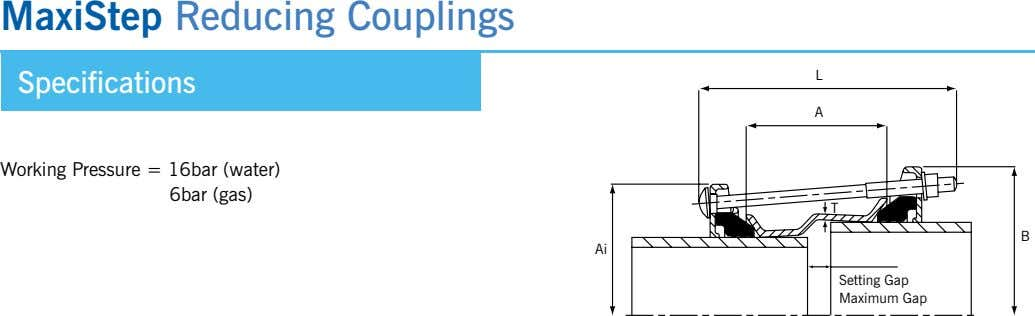 MaxiStep Reducing Couplings l Specifications a Working Pressure = 16bar (water) 6bar (gas) T B