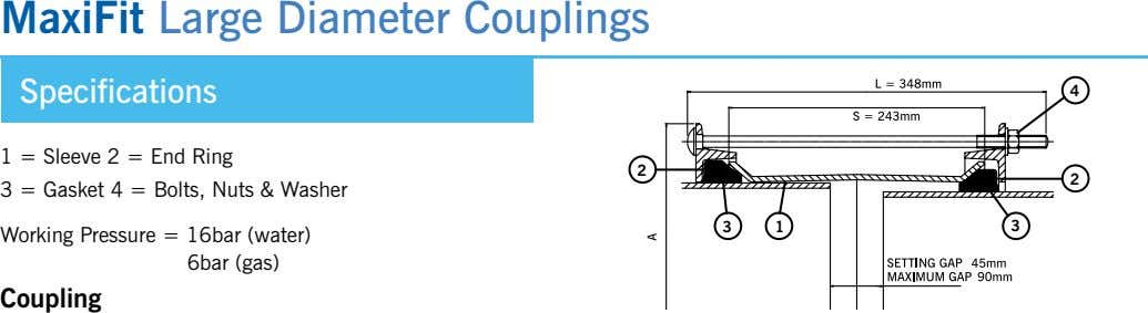 MaxiFit Large Diameter Couplings Specifications 4 1 = Sleeve 2 = end Ring 2 2