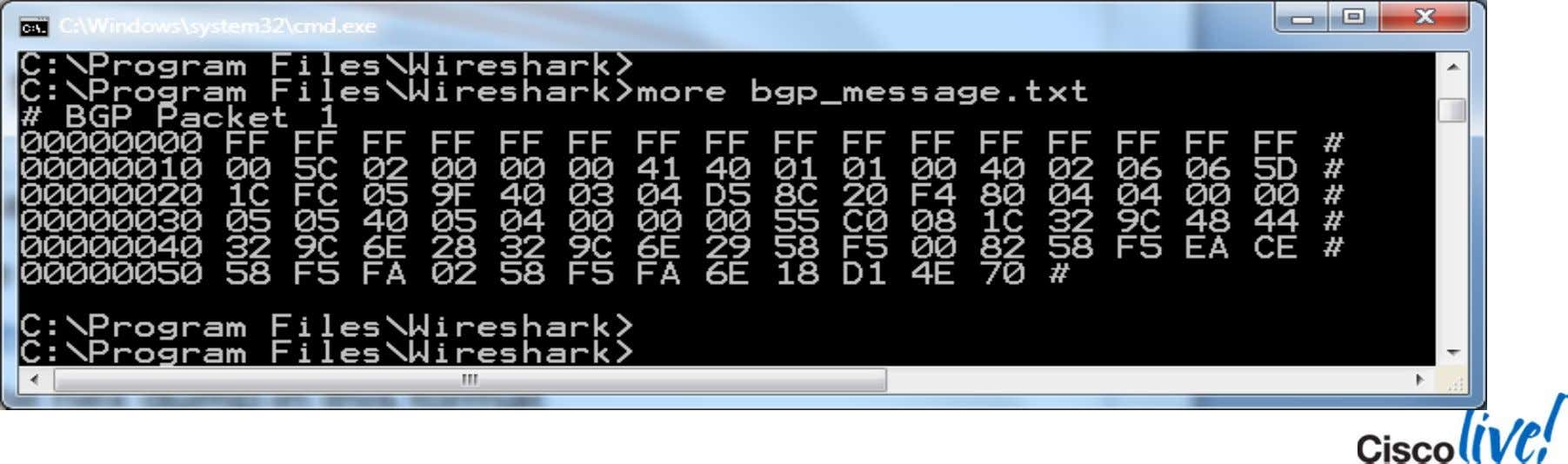  In a nutshell, put the hex dump in this format BRKRST-3320 © 2013 Cisco and/or