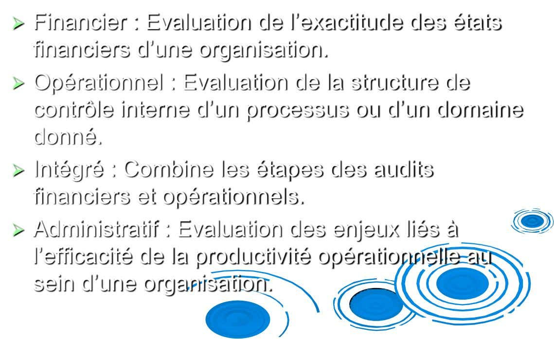  Financier : Evaluation de l'exactitude des états financiers d'une organisation.  Opérationnel : Evaluation de