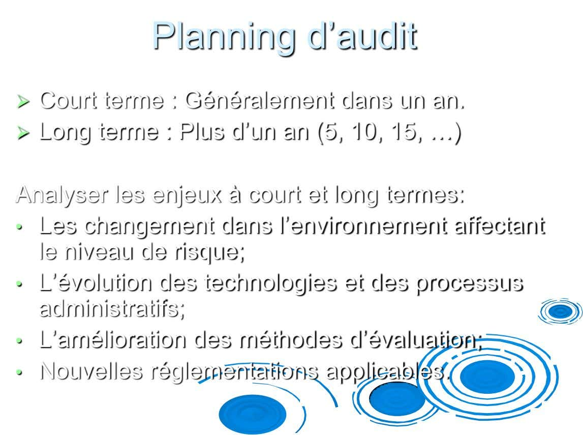 Planning d'audit  Court terme : Généralement dans un an.  Long terme : Plus d'un