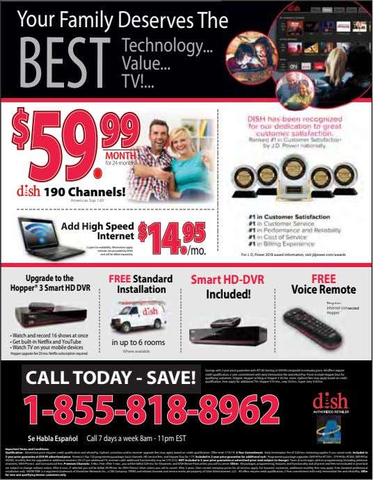 Your Family Deserves The BEST Technology Value TV! 190 Channels! Americas Top 120 Add High