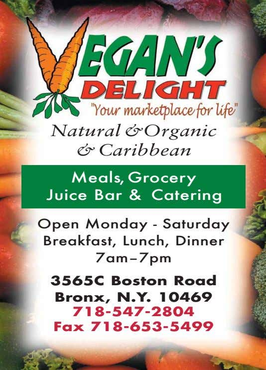 Natural &Organic &Caribbean Meals,Grocery Juice Bar & Catering Open Monday - Saturday Breakfast, Lunch,