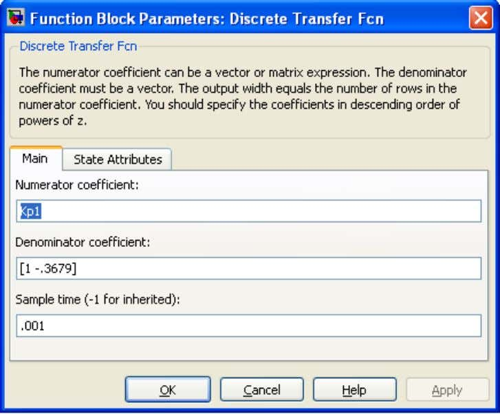 "we will create parameters ""Kp1"" and ""Kp2"" to parameterize the gain of the two transfer functions:"