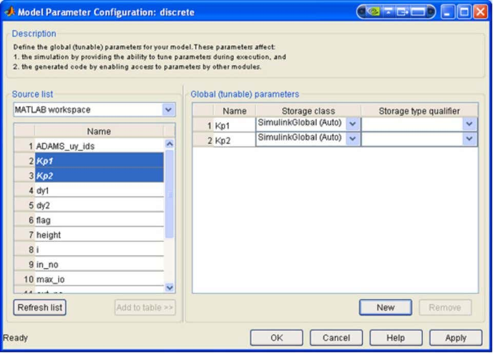 Step Six - Expose S-Function Parameters to Adams C 4. Choose the Real-Time Workshop tab in