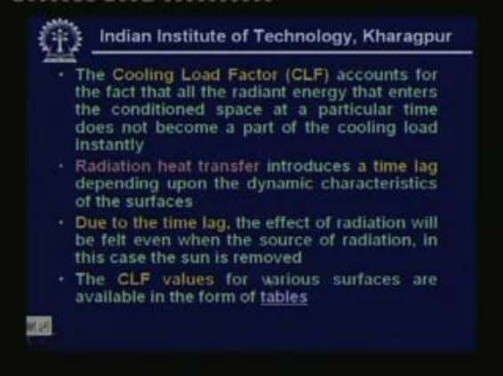 is cooling load factor. (Refer Slide Time: 00:18:05 min) The cooling load factor CLF accounts for