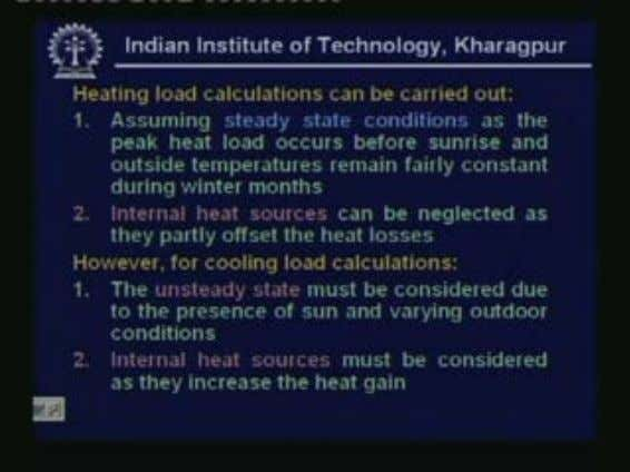 a set of known input data. (Refer Slide Time: 00:02:32 min) Heating load calculations can be