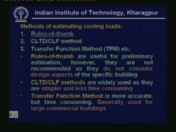 Now let us look at the methods of estimating cooling loads. The easiest method is