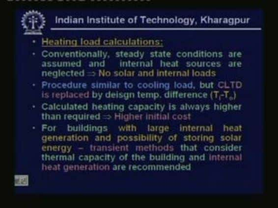 Next let us look at heating load calculations as I said heating load calculations are