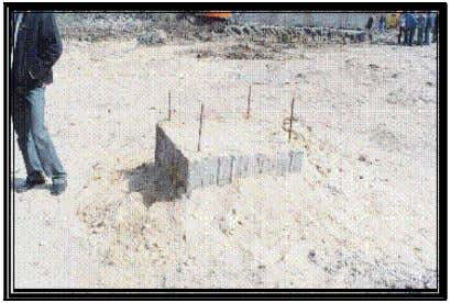 steel cage inserted in concrete column by vibration. Figure 9. The pile cap of tested pile.