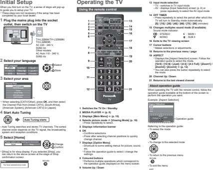 Initial Setup Operating the TV When you first turn on the TV, a series of