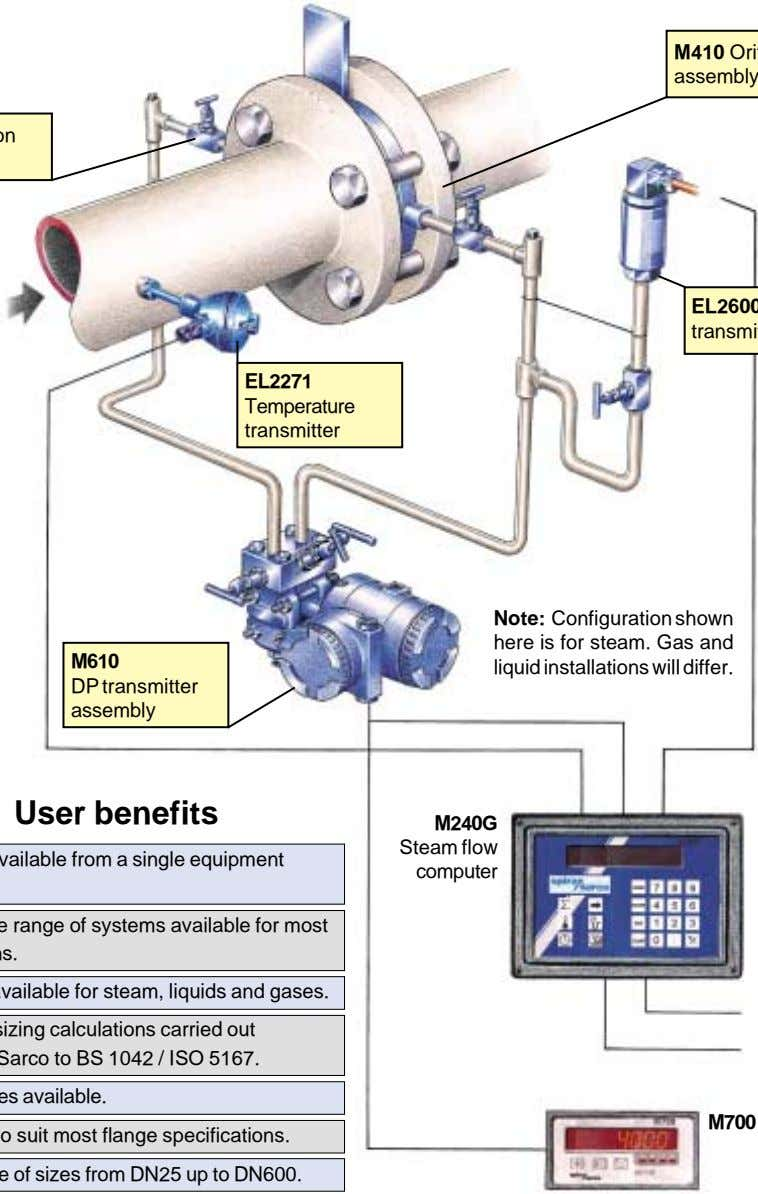 EL2271 Temperature transmitter M610 Note: Configuration shown here is for steam. Gas and liquid installations