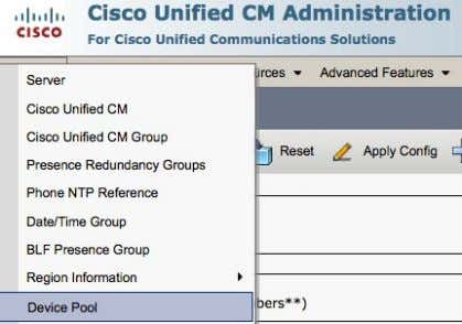 System > Device Pool © 2013-2014 Cisco and /or its affiliates. All rights reserved. Cisco Confidential