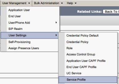 Use r Management > Use r Settings > Service Profile Service Profile is created for Jabber: