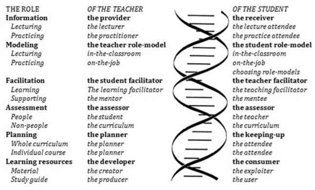 Students' roles Figure 2. The double helix of both teacher's & student's roles. Figure 3. The