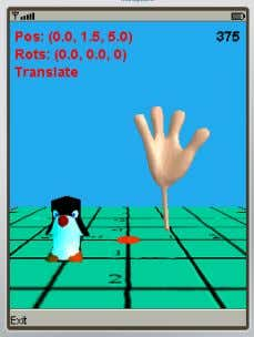 Figure 2, as utilized in the ViewerES JOGL-ES application. Figure 2. ViewerES with Penguin and Hand